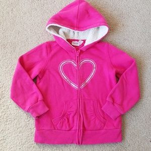Pink Sonoma Sweatshirt with Heart and Lined Hood